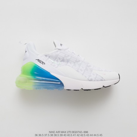 the best attitude ea1b1 c87d1 Unisex Nike Air Max 270 Seat Half Palm Air Jogging Shoes White Silk  Turquoise Blue