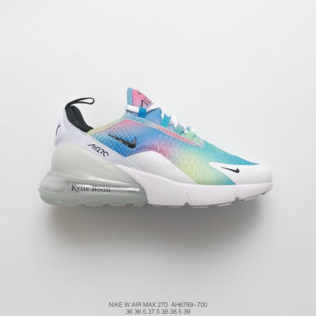 online store c3ac9 f0a33 Womens Nike Air Max 270 Seat Half Palm Air Jogging Shoes Rainbow White