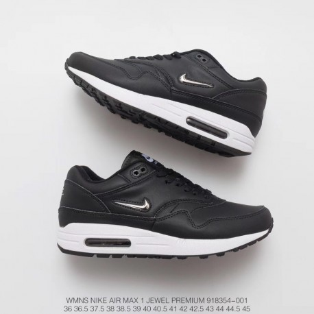 detailed look 101a3 8468e Small Nike Air Max 1 Jewel Premium Classic Retro Air Racing Shoes Black  Leather Upper White Mini Metal Small Box Original