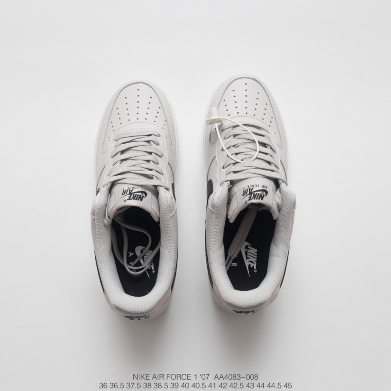 buy online a544f 37775 ... Unisex Nike Air Force 1 Af1 Low All-Match Sneakers Light Grey Black  Hook ...