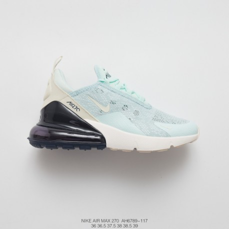 Womens Nike Air Max 270 Seat Half Palm Air Jogging Shoes Lace Screen Light Green White