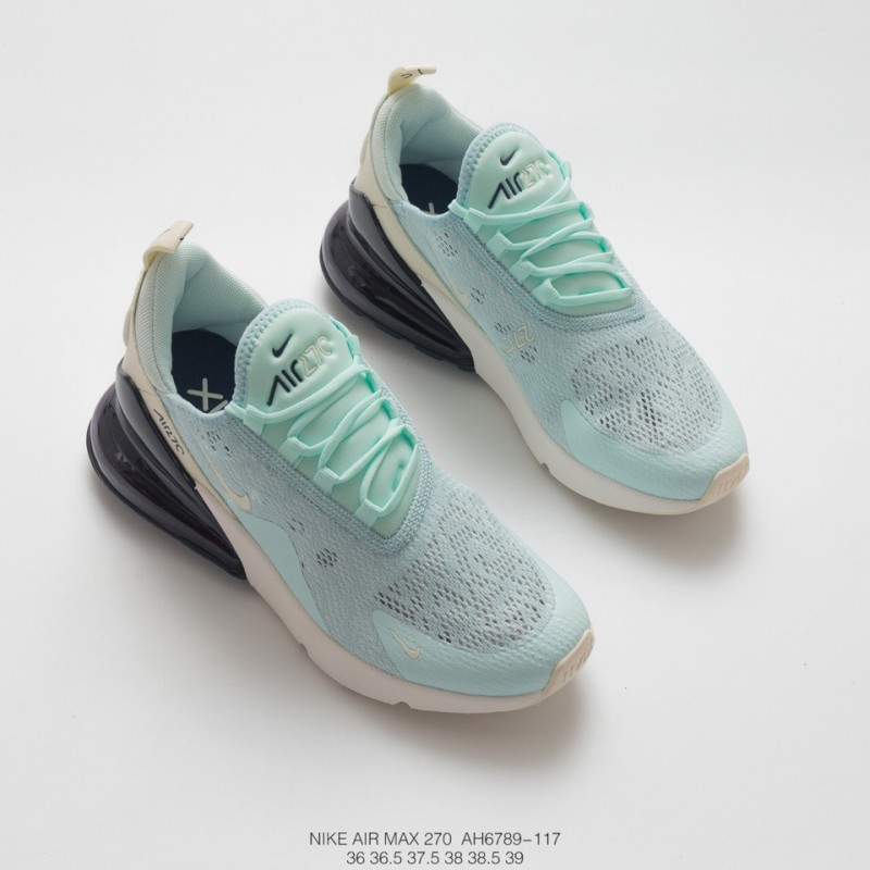 5d0790407126 ... Womens Nike Air Max 270 Seat Half Palm Air Jogging Shoes Lace Screen  Light Green White
