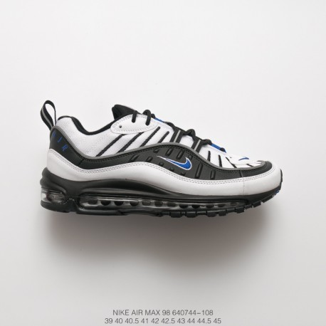 Nike Air Max 98 Gundam White Black Blue Vintage Sports Racing Shoes