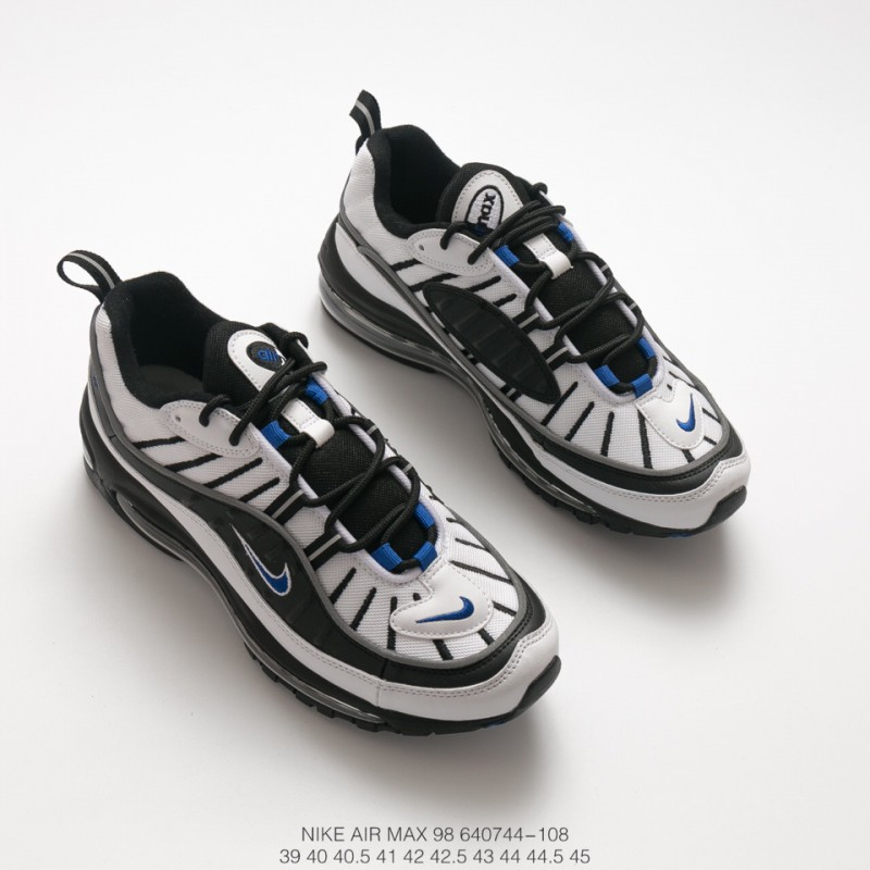 029009ce628d ... Nike Air Max 98 Gundam White Black Blue Vintage Sports Racing Shoes