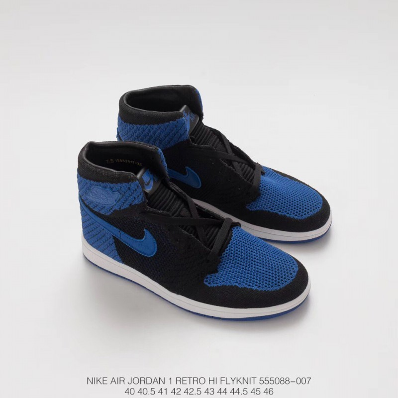 fd09dc2318e ... 088 007 Air Jordan 1 Aj1 Retro High Woven Black And Blue