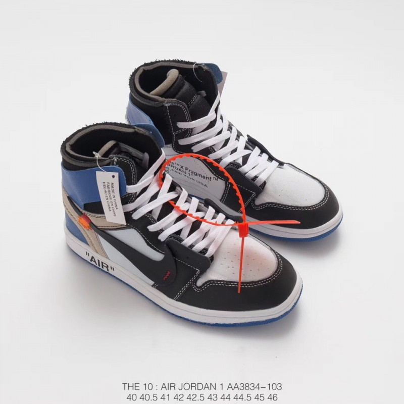 ... Aa3834 103 Deadstock Air Jordan 1 Off White Aj1 Black And White Blue  Limited Edition Original 700866a70