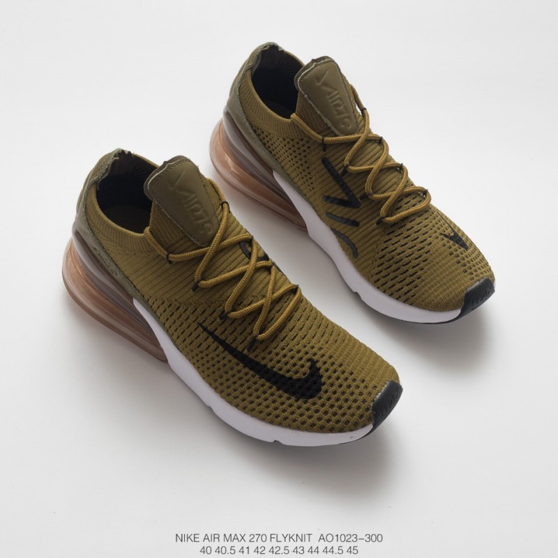 4a5d286ac7e3 ... Unisex Nike Air 270 Flyknit Seat Half Palm Air Jogging Shoes Military  Green Black And White
