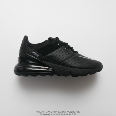 Mens Nike Air Max 270 Premium Rear Half Palm Air All Match Jogging Shoes Stitching Leather Whole Black
