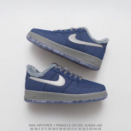 cheap for discount 47389 12653 Winter Deadstock Nike Air Force 1 Pinnacle Qs Wolf Snow Wolf Theme  All-Match Sneakers Werewolf Denim Blue 3m