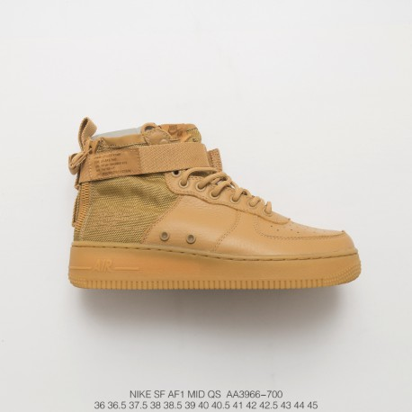 buy popular 81367 502c8 Nike Sf-Af1 Mid Wheat Air Force High Zipper Text Leisure Sneakers Unisex