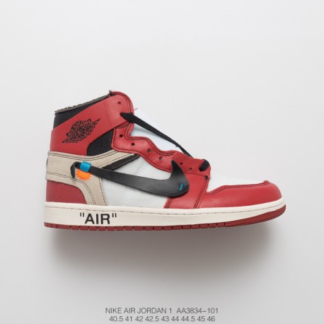 Aa3834 101 Air Jordan 1 Off White Aj1 Black And White Red Limited Edition  Original Joe 995c83747