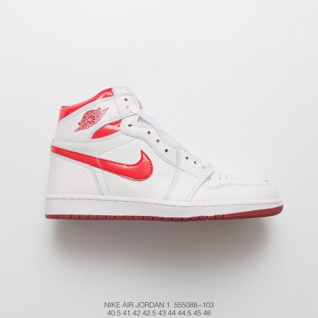 bb50bba798ae7 ... ireland jordan air jordan 1 og aj1 metal white red sports basket  sneaker b7480 87584