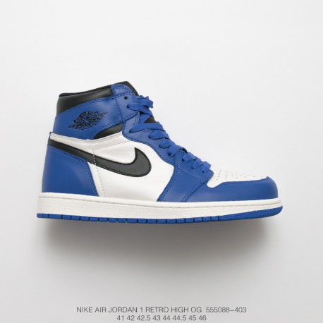 6b72f64c168 Recommend Jordan Nike Air Jordan Aj1 Jordan 1 Black And White Blue Small  Lightning Upper