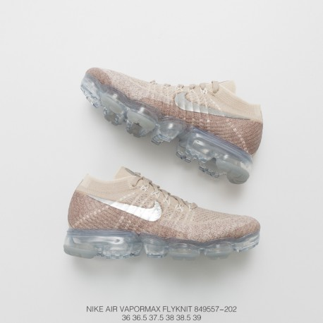 efc400e3308 Nike Womens Air Vapormax Flyknit Steam Air Max Jogging Shoes String  Cappuccino Grey Silver Tick