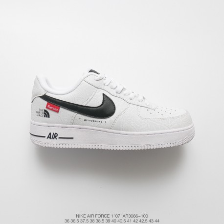 Highest Supreme X North Side The North Face X Nike Air Force 1 Wrinkle Effect All Match Sneakers Sup North White Bred