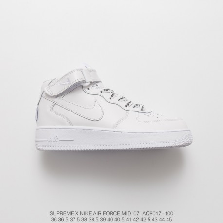 Top Grain Leather Classic Reproduction Supreme X Nike Air Force 1 Sp High Classic All Match Sneakers Sup Black And White